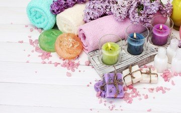 flowers, candles, towel, spa, lilac, soap, salt, composition, aromatherapy