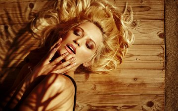 girl, blonde, model, closed eyes, jaroslav monchak