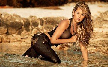 water, blonde, beach, model, jeans, long hair, melissa giraldo