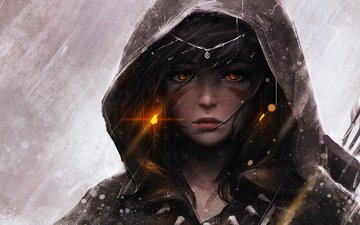 art, girl, look, fantasy, cloak, archer, tattoo, rain, hood, wlop, guweiz