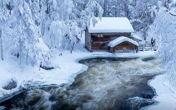 river, nature, forest, winter, house, jari ehrstrom