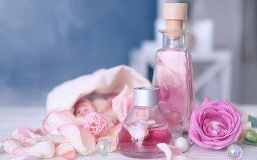 розы, лепестки, масло, аромат, духи, бутылочка, флакон