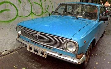 машина, стена, россия, машины, графити, двор, волга, ретро авто