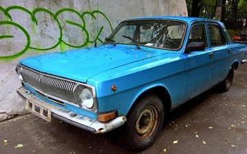 machine, auto, yard, volga, lights, retroavto, blue color