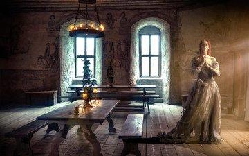 свечи, стиль, девушка, платье, комната, окно, рыжеволосая, средневековье, комната.зал, middle ages