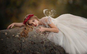 цветы, взгляд, девочка, фея, волосы, венок, белое платье, крылышки