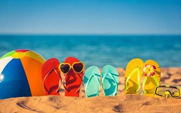 море, пляж, очки, мяч, сланцы, шлепки, вьетнамки