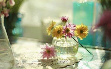 цветы, букет, ваза, салфетка, натюрморт