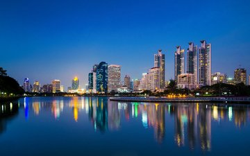 night, lights, reflection, the city, thailand, bangkok