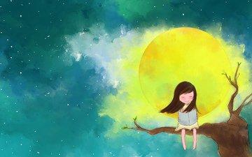 небо, арт, рисунок, солнце, дерево, девочка