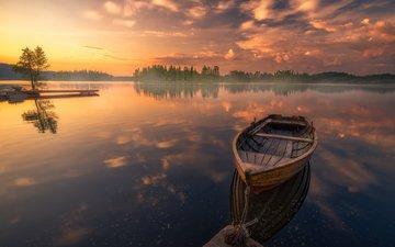 lake, sunset, reflection, landscape, boat