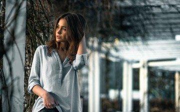 девушка, взгляд, модель, рубашка, шатенка, jakub mrozek, roxi