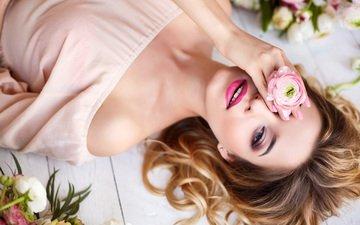 девушка, цветок, взгляд, модель, волосы, лицо, макияж, шатенка