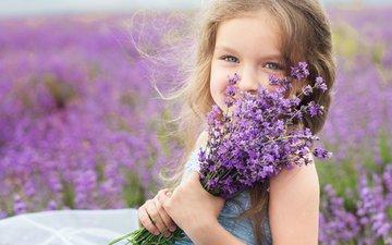 flowers, mood, girl, child