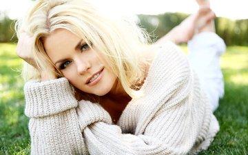 grass, girl, blonde, look, hair, face, sweater