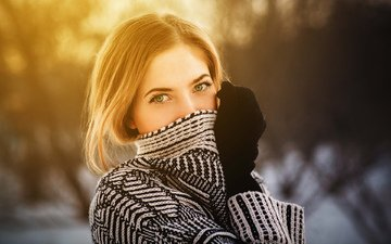 girl, blonde, portrait, model, green eyes, pref