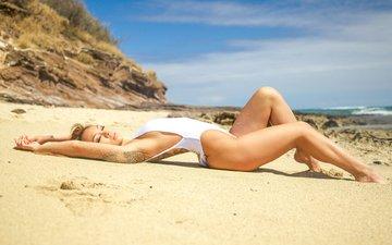 девушка, пляж, модель, татуировка, купальник, шатенка