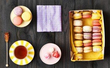 чай, сладкое, выпечка, десерт, макаруны