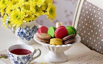 цветы, чай, письмо, хризантемы, печенье, десерт, макаруны