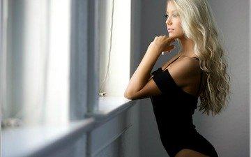 girl, blonde, look, model, profile, hair, face, swimsuit