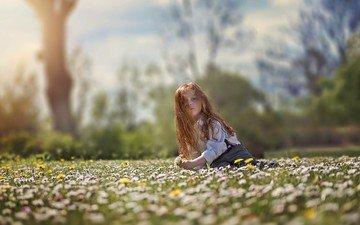 цветы, настроение, поле, дети, девочка, ребенок, длинные волосы