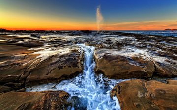 the sky, rocks, stones, wave, landscape, sea, coast, australia, glow, new south wales, bing, north avoca beach