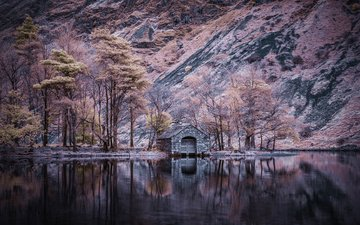 lake, mountains, nature, reflection, landscape, autumn, house