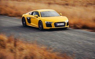 скорость, авто, жёлтая, ауди, v10, скорости