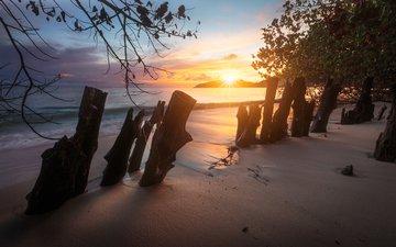 природа, закат, пейзаж, море, песок, пляж, забор