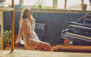 girl, blonde, model, piano, jaroslav monchak
