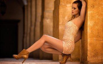 девушка, платье, взгляд, волосы, каблуки, giulia, miki macovei