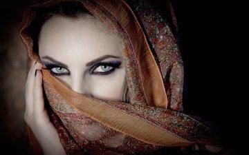 глаза, девушка, портрет, взгляд, лицо, платок, karen chakhalyan