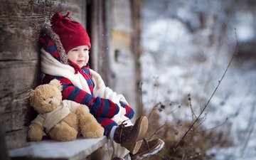 зима, настроение, дети, мишка, игрушка, ребенок, мальчик
