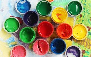 разноцветные, краски, краска, творчество, рисование, канцелярия, изобразительное искусство