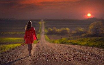 дорога, цветы, солнце, закат, девушка, настроение, лепестки, прогулка, красное платье, jake olson studios