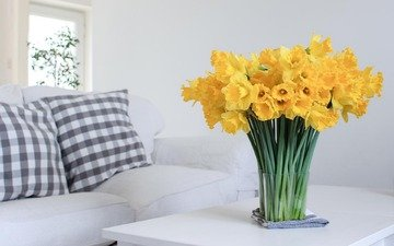 flowers, bouquet, daffodils, yellow