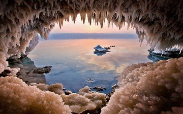 lake, nature, cave, crystals, salt, the dead sea, jordan