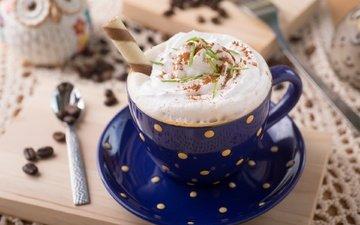 coffee, cup, coffee beans, cream, cappuccino, foam, waffle tube
