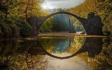 river, nature, landscape, bridge, autumn, germany, saxony, rakott, rocketspace, devil's bridge, stone bridge