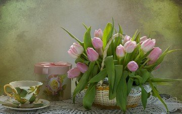 flowers, bouquet, tulips, gift, basket, still life, composition