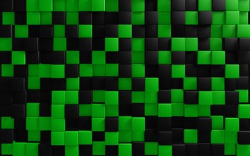 green, black, graphics, cubes, squares, cuba, tile, 3d