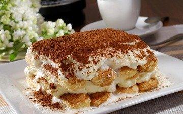 торт, десерт, какао, тирамису, крем