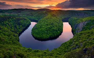 lake, river, nature, forest, sunset, landscape, hill