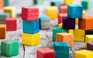 colorful, color, cubes, building blocks