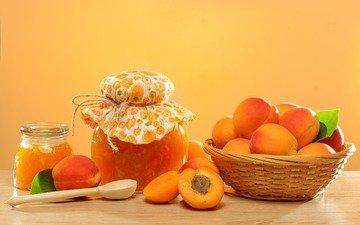 фрукты, джем, абрикосы, варенье