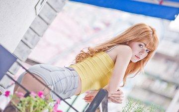 девушка, взгляд, попа, модель, азиатка, джинсовые шорты