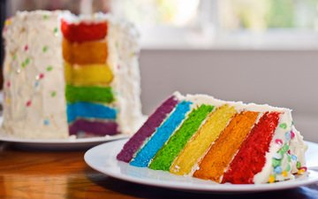 colorful, cake, dessert, pie, layers, cream