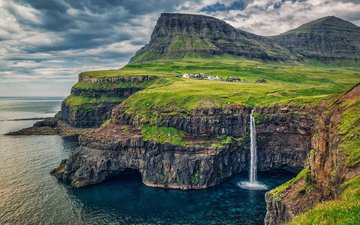 rocks, nature, sea, waterfall, faroe islands, denmark, pasmurno