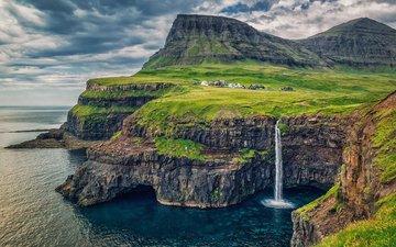 скалы, природа, море, водопад