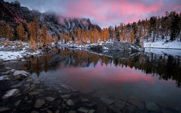 the sky, lake, rocks, nature, forest, winter, landscape, autumn
